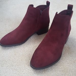 Just Fab Cranberry Ankle Booties